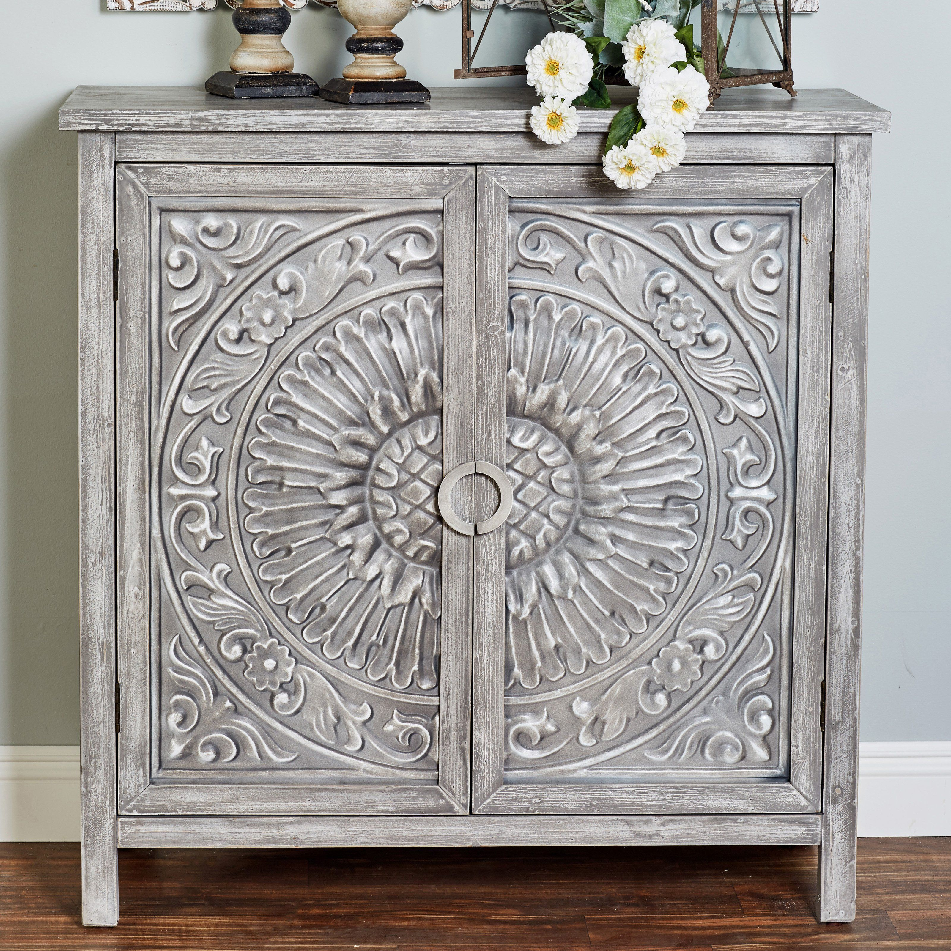 DecMode Traditional Carved Design 2 Door Wooden Cabinet ...