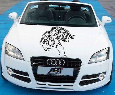 Car Hood Vinyl Decal Graphics Stickers Art Mural Animals Ferocious Tiger KJ1878