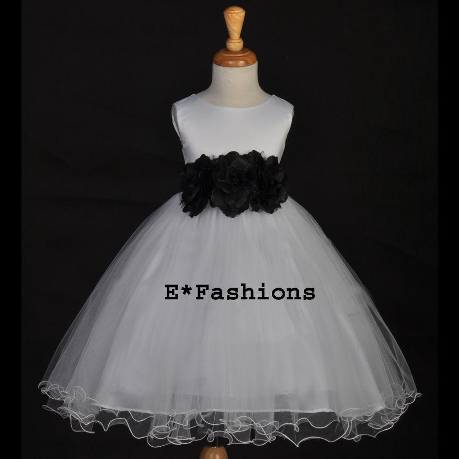 White black wedding pageant bridal holiday flower girl dress mm