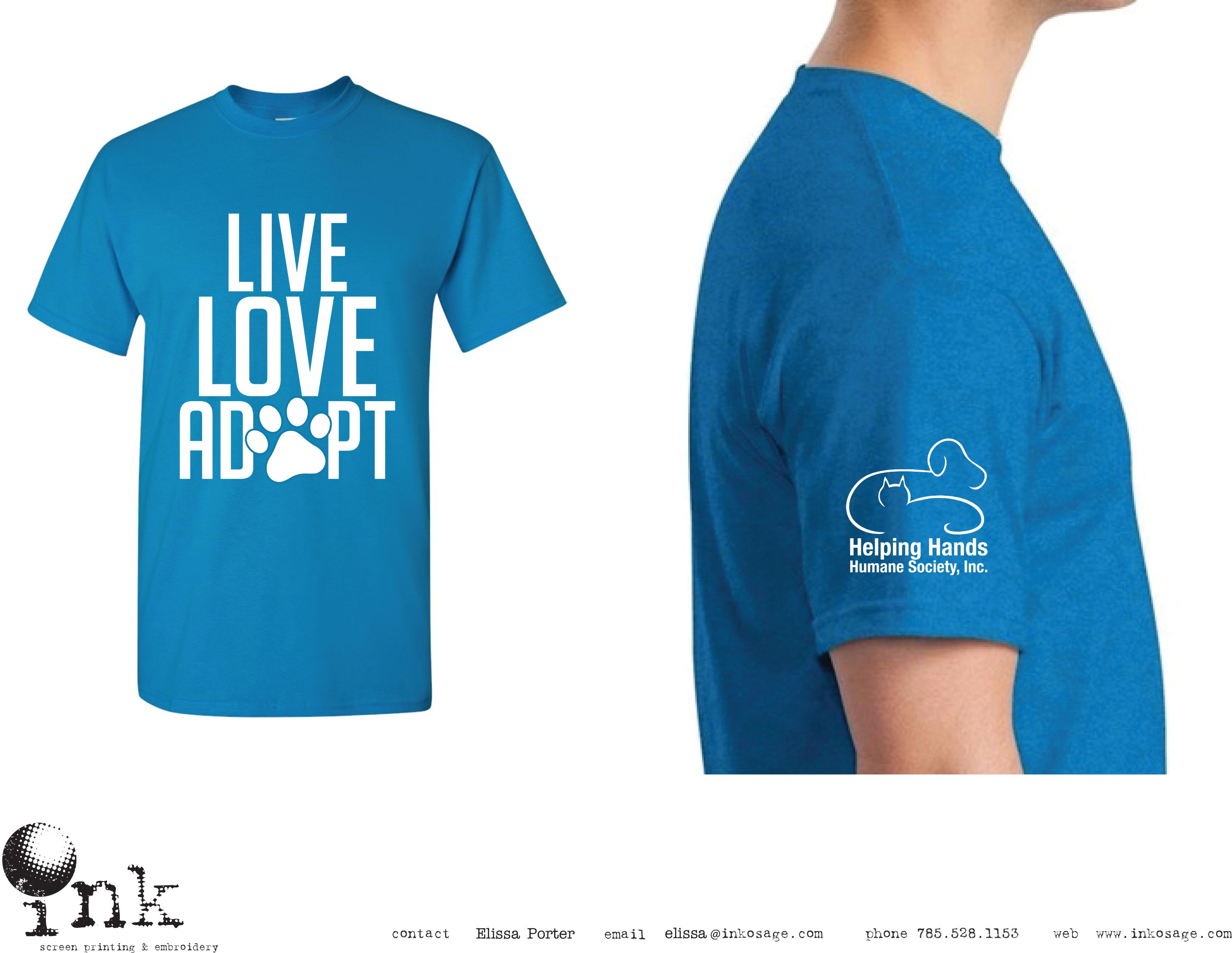 "helping hands humane society adoption tee ""live, love, adopt"