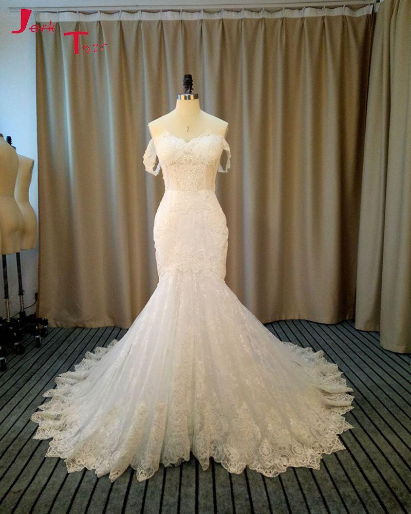 Jark tozr vestidos de noiva sereia custom made bridal gowns ivory