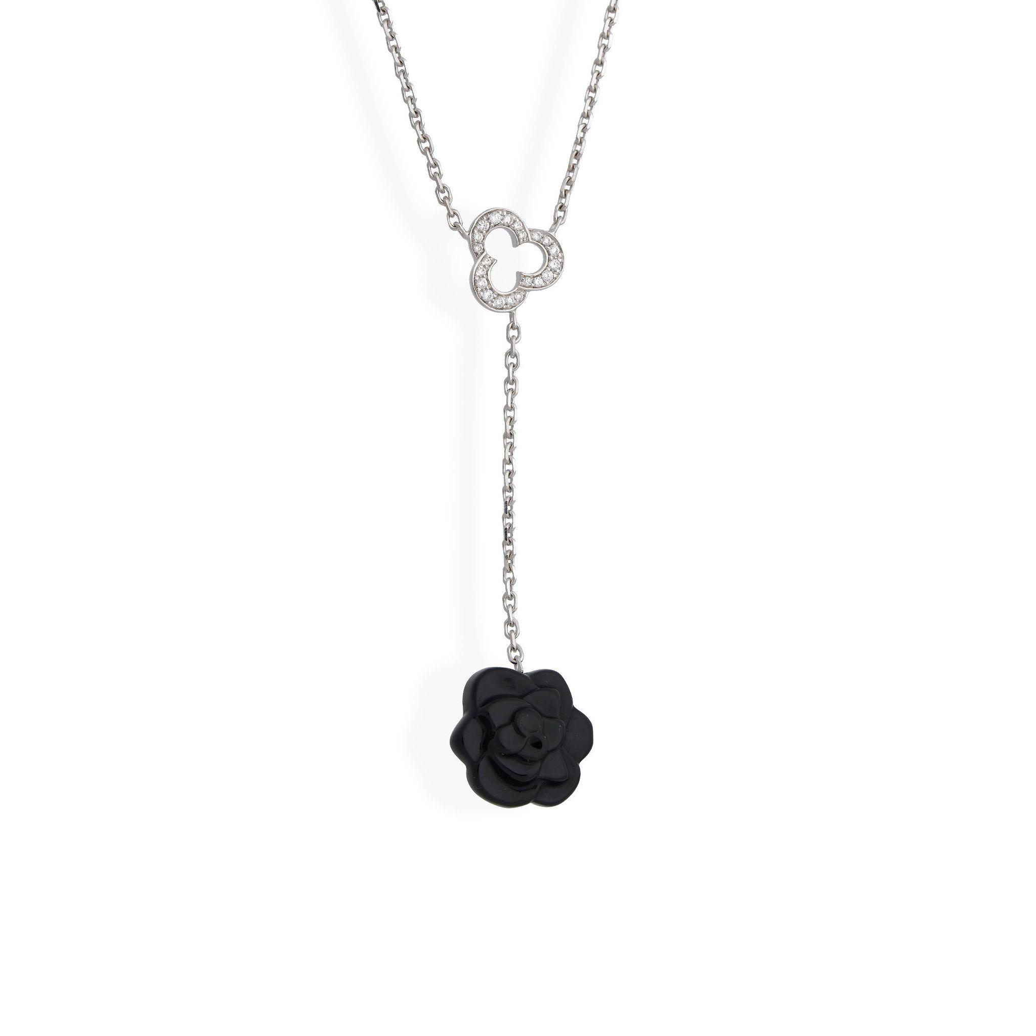 Chanel 18k White Gold Camelia Diamond Necklace Length 16 Jewelry Design Necklace Online Jewelry