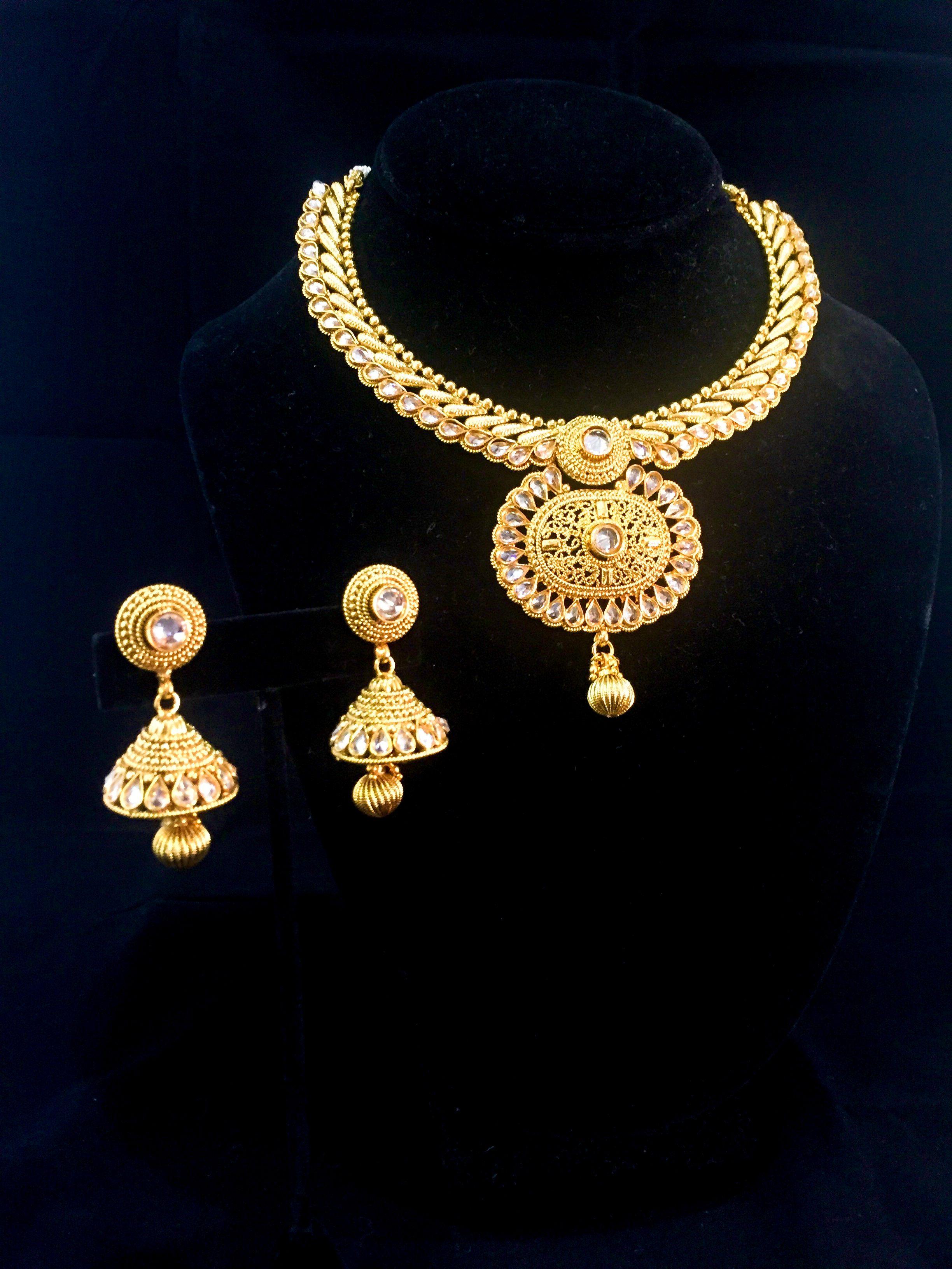 Elegant kundan bridal set with pendant collar and jhumka shop