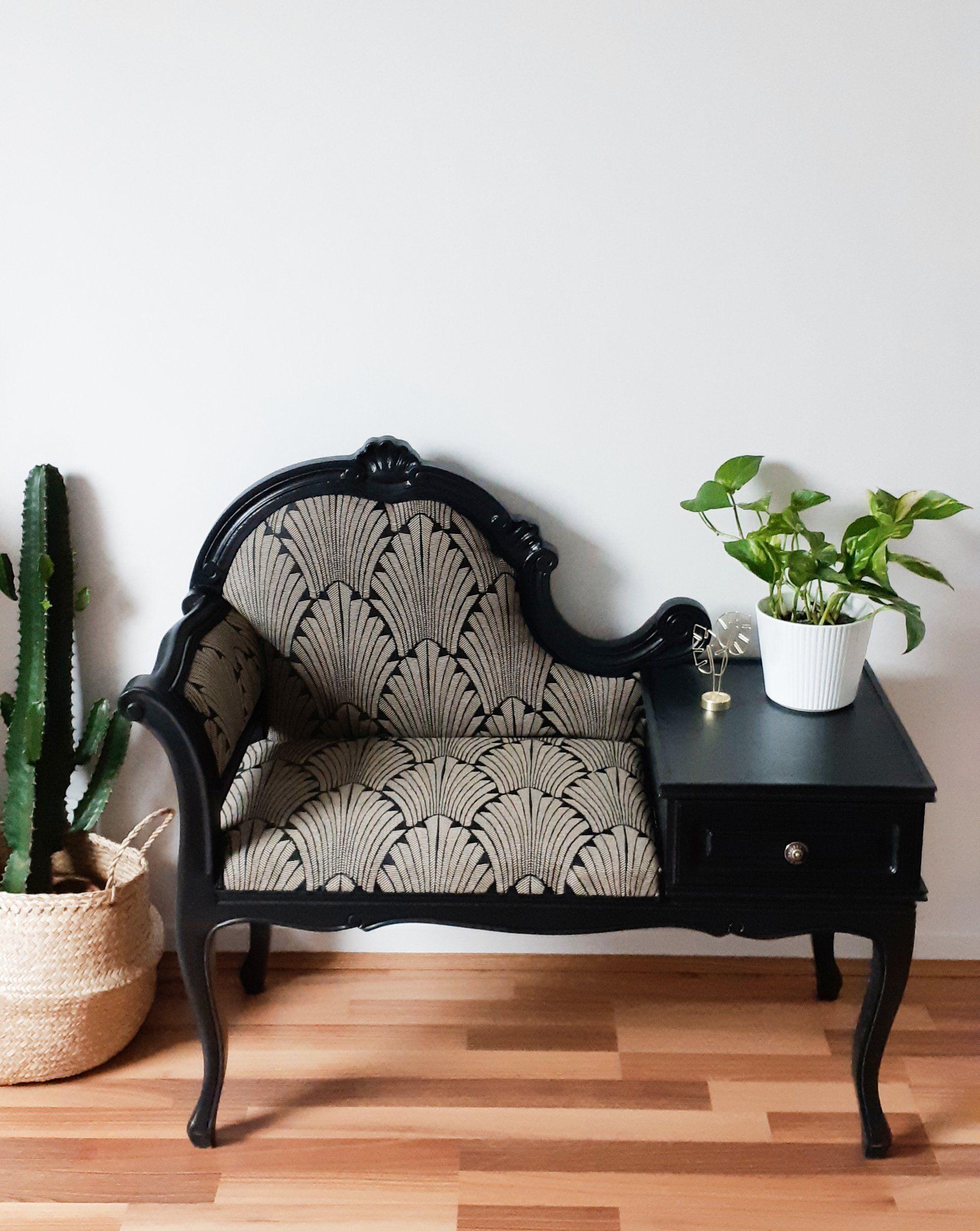Banquette Fauteuil Telephone Relooke Annees 50 Siege Vintage De La Boutique Atelierdelachoisille Sur Etsy Reupholster Furniture Home Decor Fabric Furniture