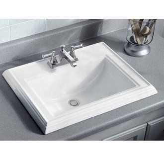 Kohler K 2241 4 0 White Memoirs 17 Drop In Bathroom Sink With 3 Holes Drilled And Overflow Faucetdirect Com In 2020 Drop In Bathroom Sinks Square Bathroom Sink Bathroom Sink Tops