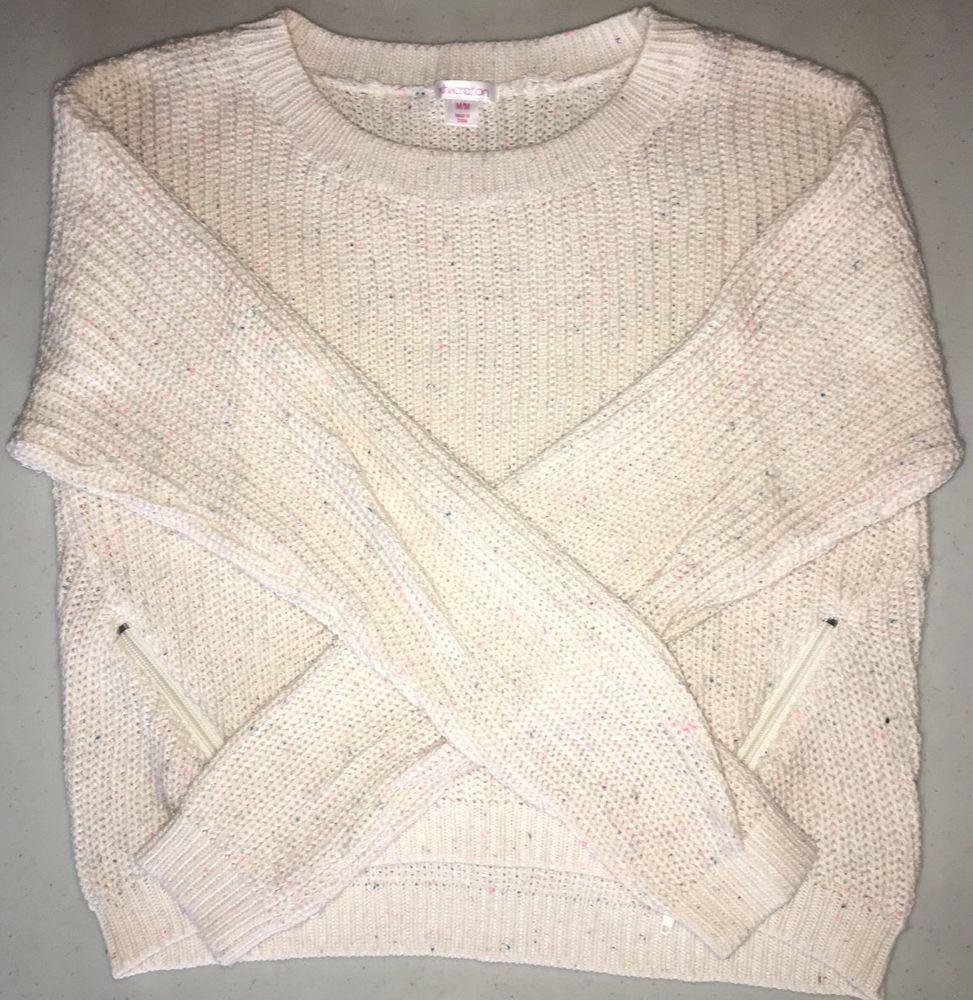 Xhilaration Ladies Juniors Cropped Sweater w Zippers, Cream, Size ...