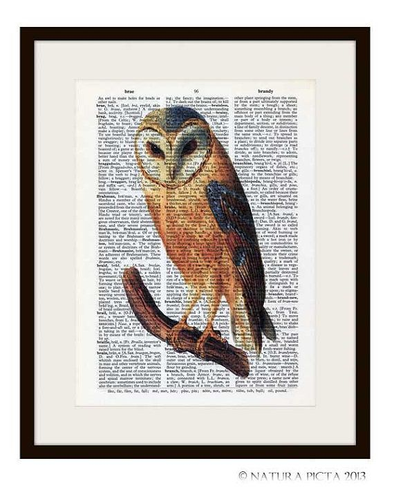 Barn owl dictionary print I love you to the moon by ...