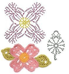 No.49 Dogwood Blossom Crochet Flower Motifs / 미국산딸나무 코바늘 플라워 모티브도안 #irishcrochetmotifs