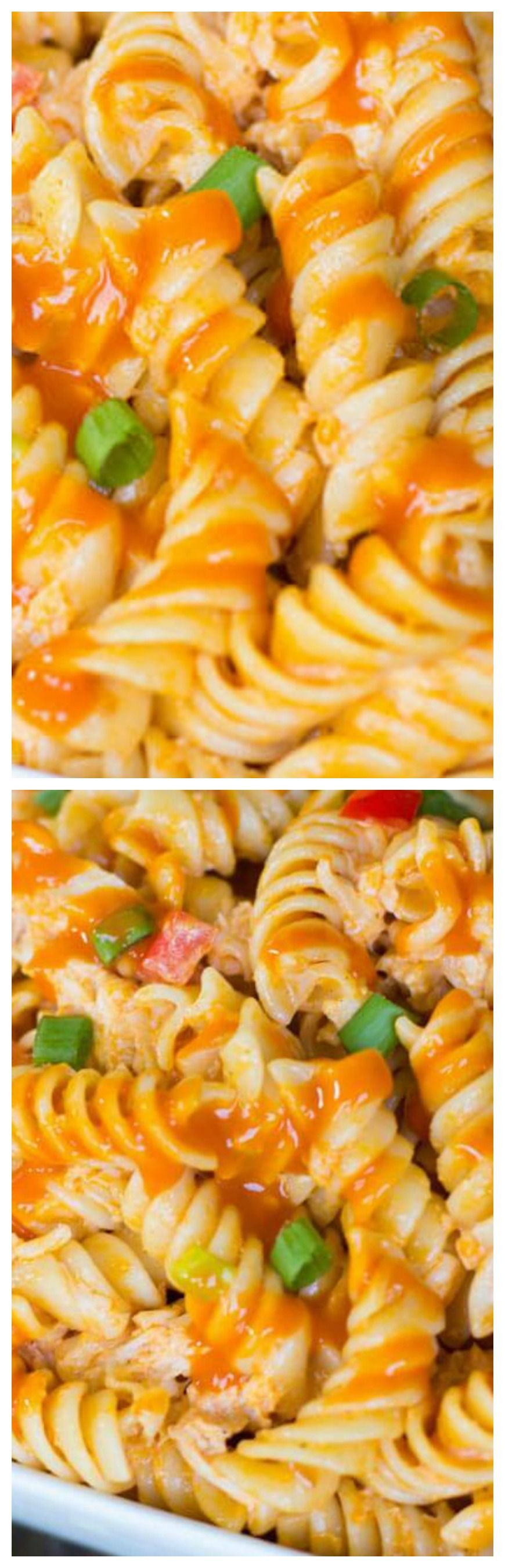 Buffalo Chicken Pasta Salad ~ Pack a little extra heat (and a lot more flavor) into your summer cookout with this easy to make Buffalo Chicken Pasta Salad! #buffalochickenpastasalad
