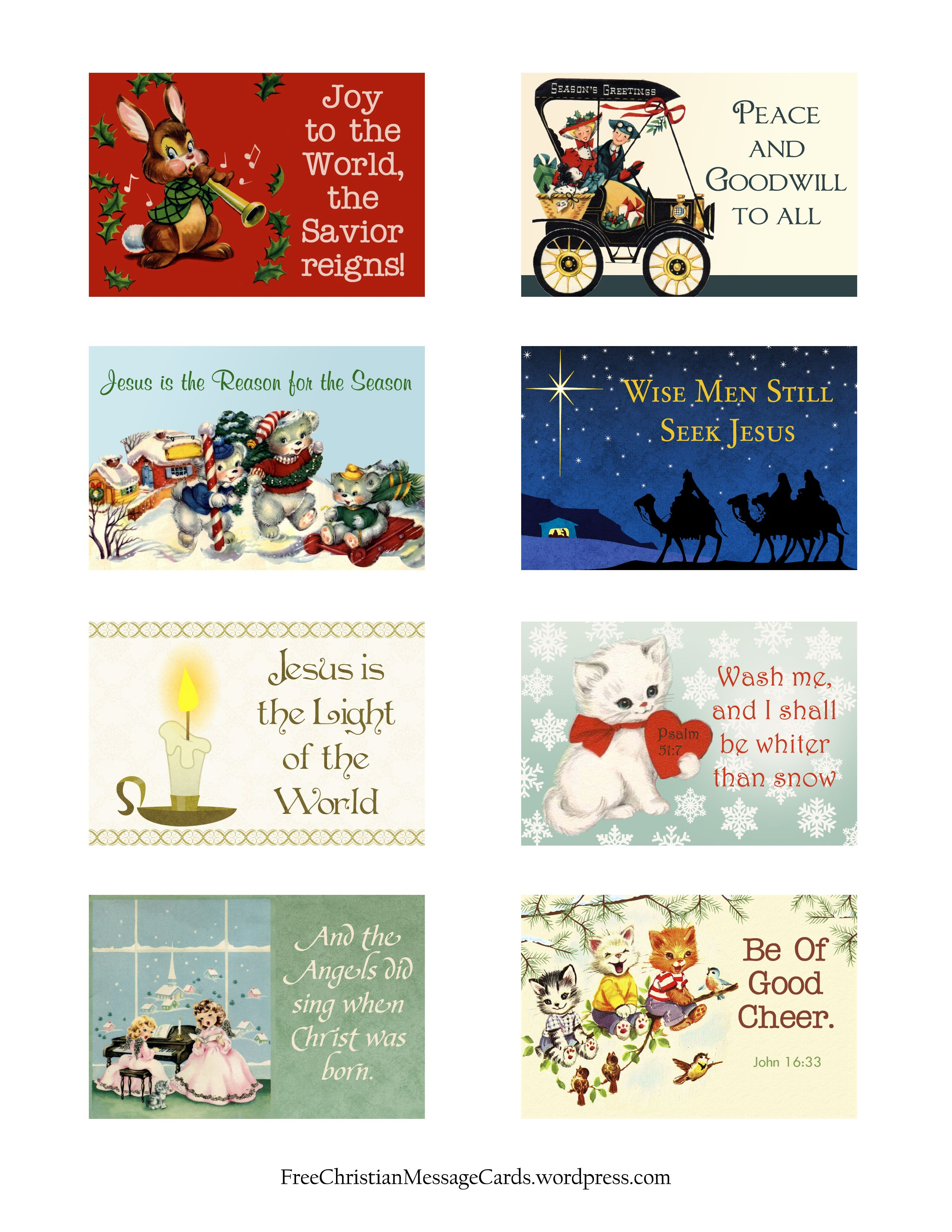 free printable christmas message cards variety sheet
