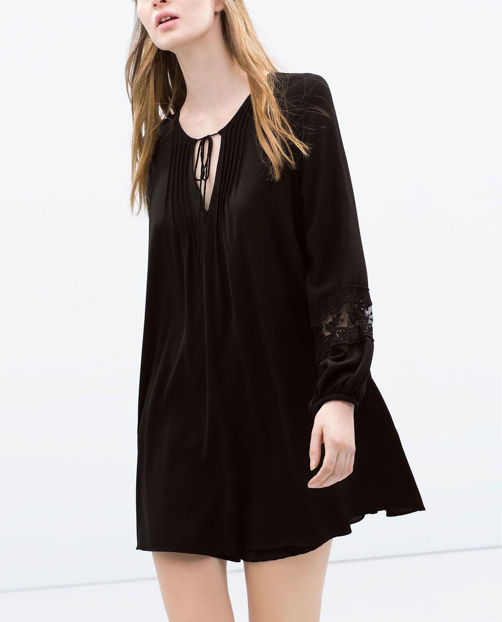 zara - mujer - vestido tÚnica encaje | schwarzes kleid zara
