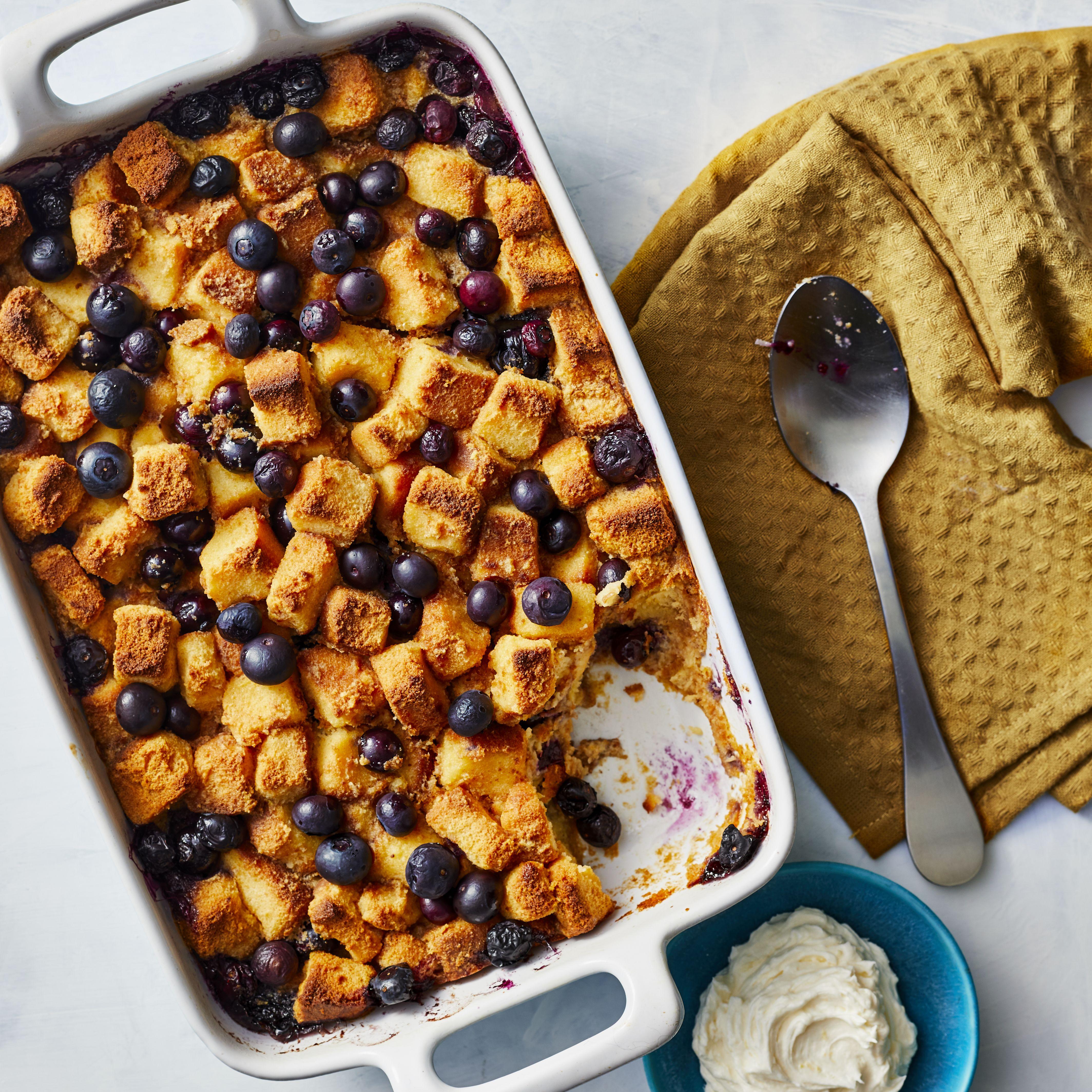 Blueberry bread pudding with lemon hard sauce recipe