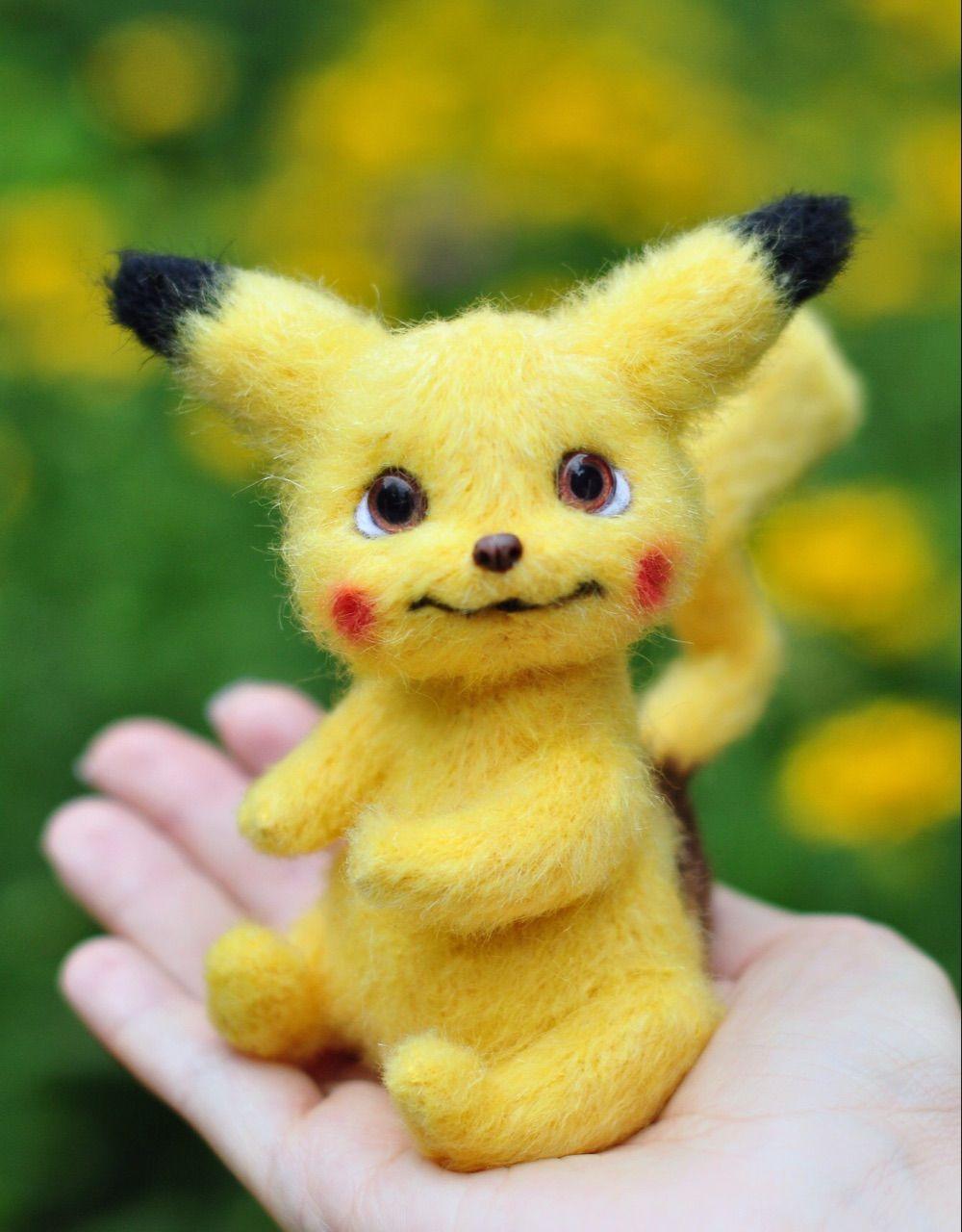 Crochet Pikachu from Pokemon, Plush Pokemon Pikachu toy, Detective Pikachu stuff toy #dollsneedlefelt