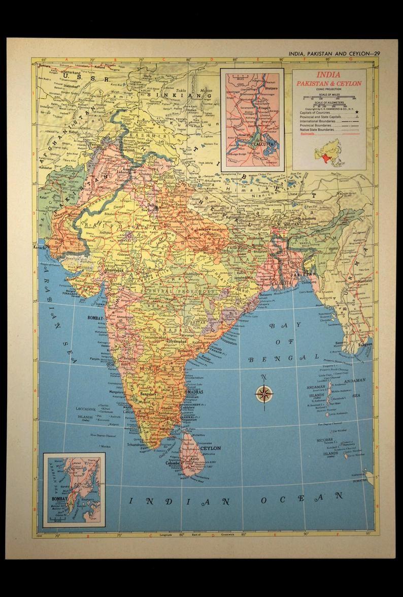 India Map of India Wall Art Decor Vintage Pakistan Ceylon