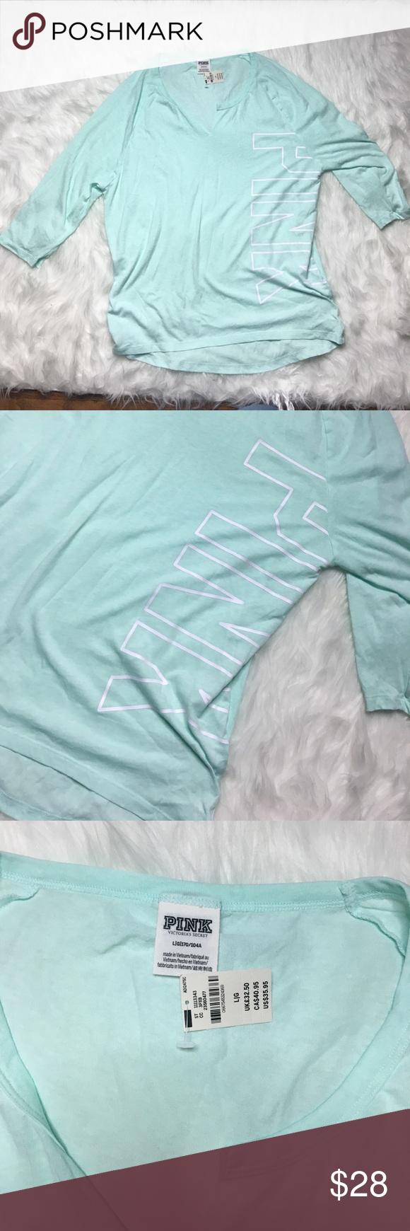 Victoria secret pink mint shirt New with tag size L Victoria's Secret Tops Tees - Short Sleeve