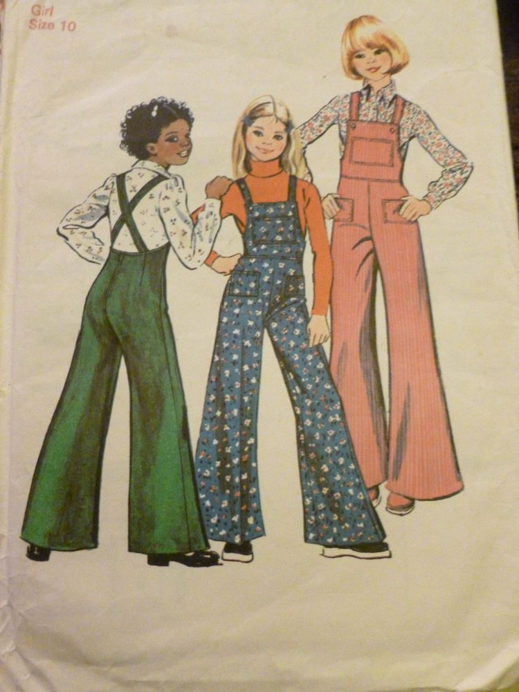 VINTAGE SIMPLICITY BELL BOTTOM DUNGAREES PATTERN^ in Crafts, Sewing ...