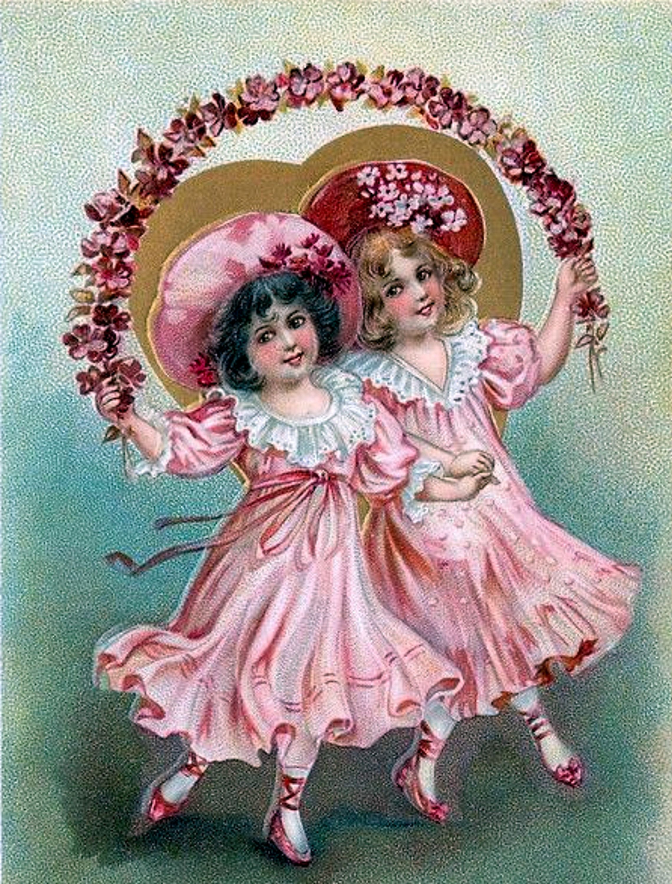 Valentine/'s Day Fabric Block Vintage Postcard on Fabric Cupids Pink Roses Heart