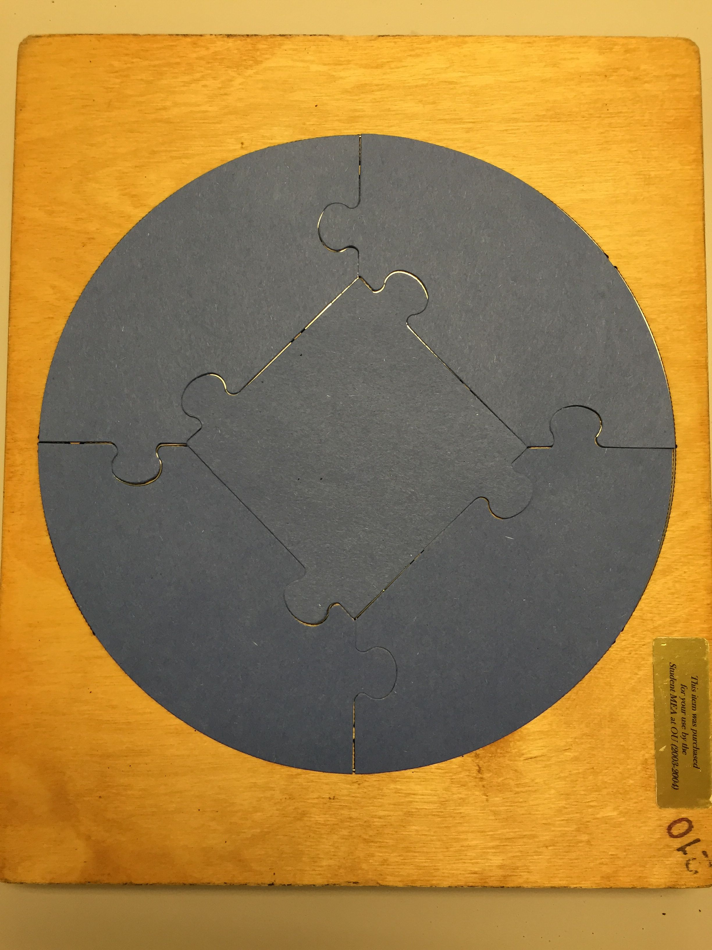 5 piece, circle puzzle
