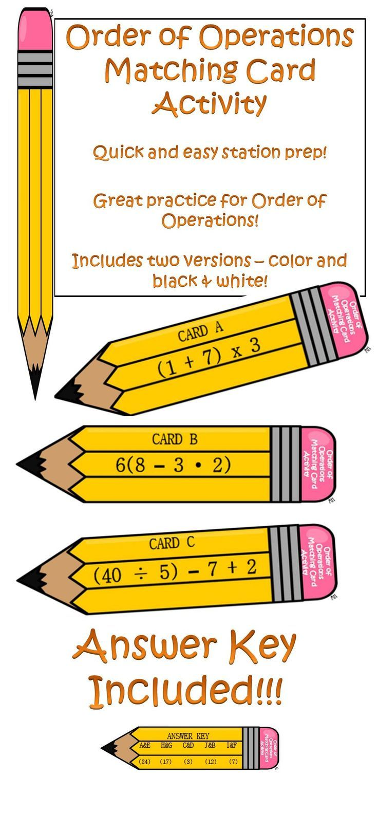 Order Of Operations Matching Card Activity Includes Exponents Order Of Operations Matching Cards Elementary Measurement Activities [ 1619 x 736 Pixel ]
