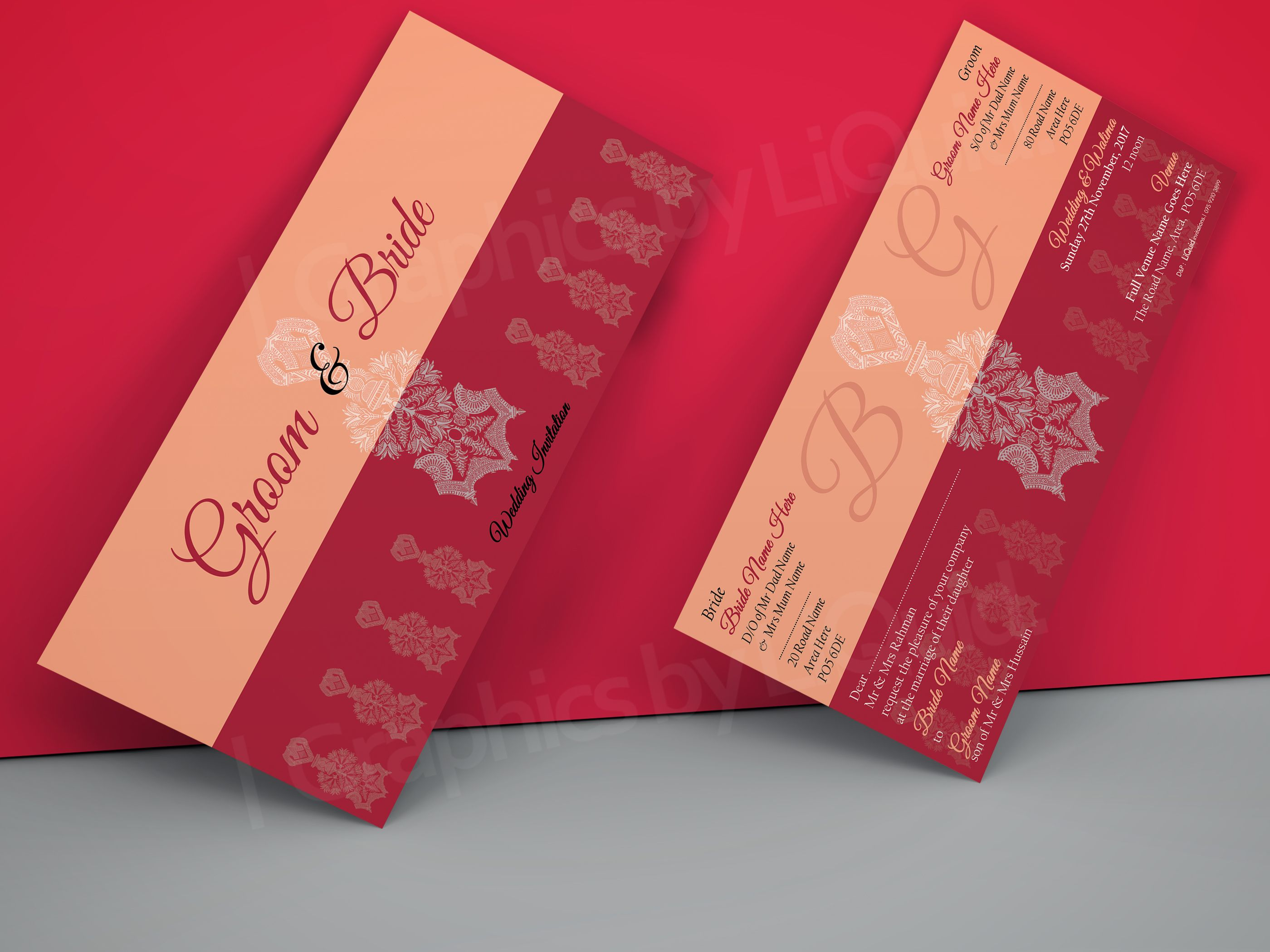 Red & Orange DL Wedding Invitation Card QDL40 | Wedding Invitation ...