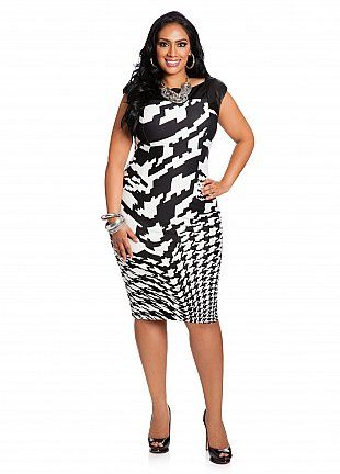 80dd446e76315 Ashley Stewart Faux Leather and Houndstooth Dress