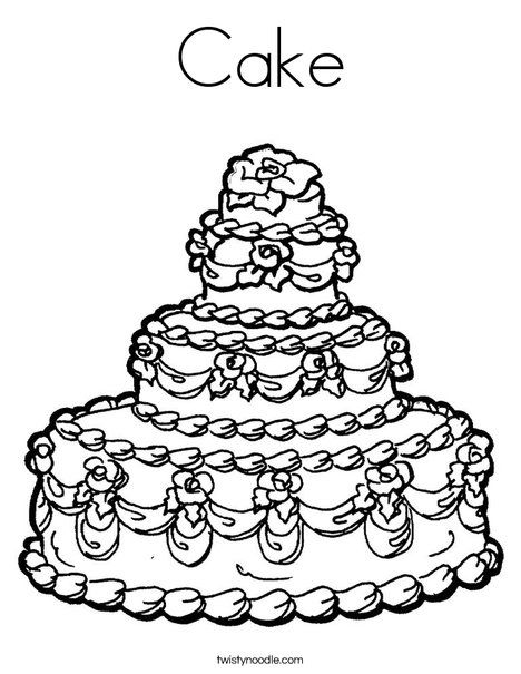 Cake Coloring Page Twisty Noodle Birthday Coloring Pages