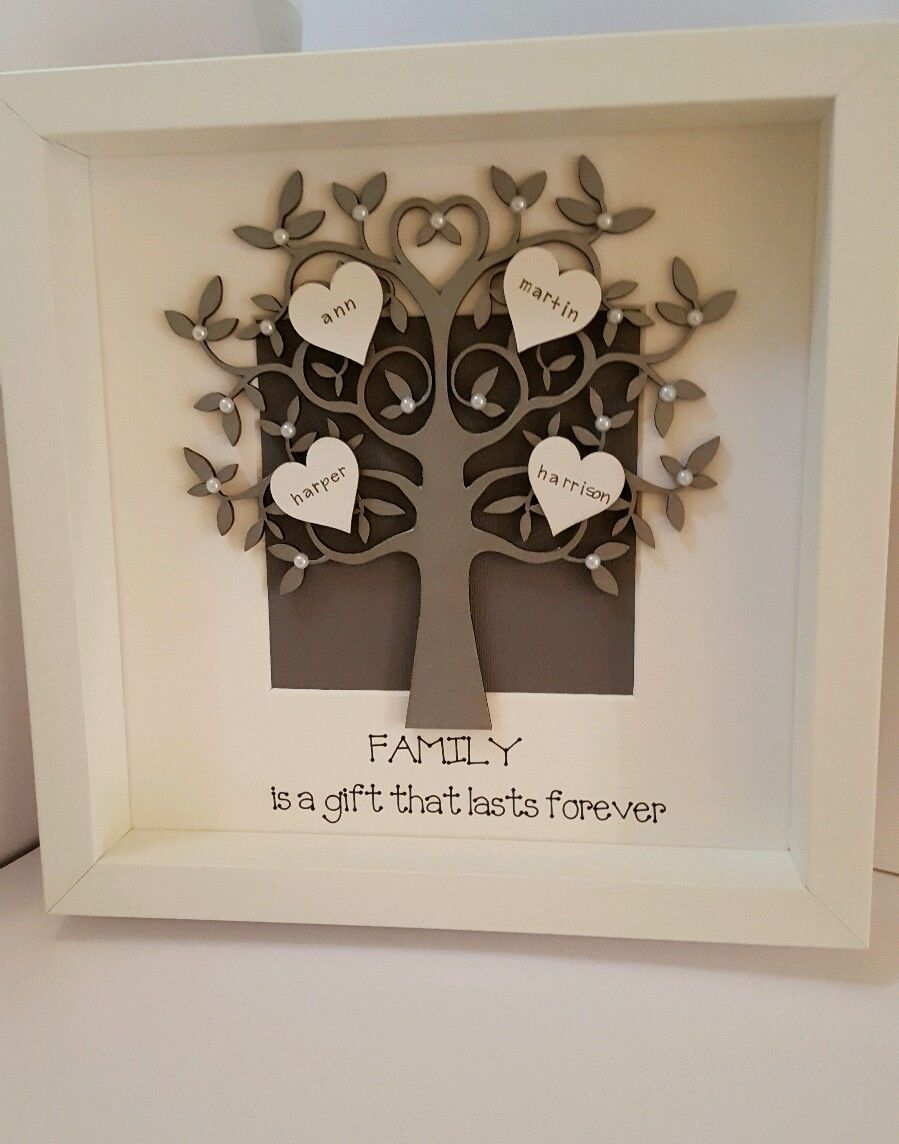 Personalised Box Picture Frame Family Tree Mothers Day Nans Gift