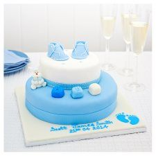 Easy Entertaining Blue Booties Christening Madeira Cake Groceries