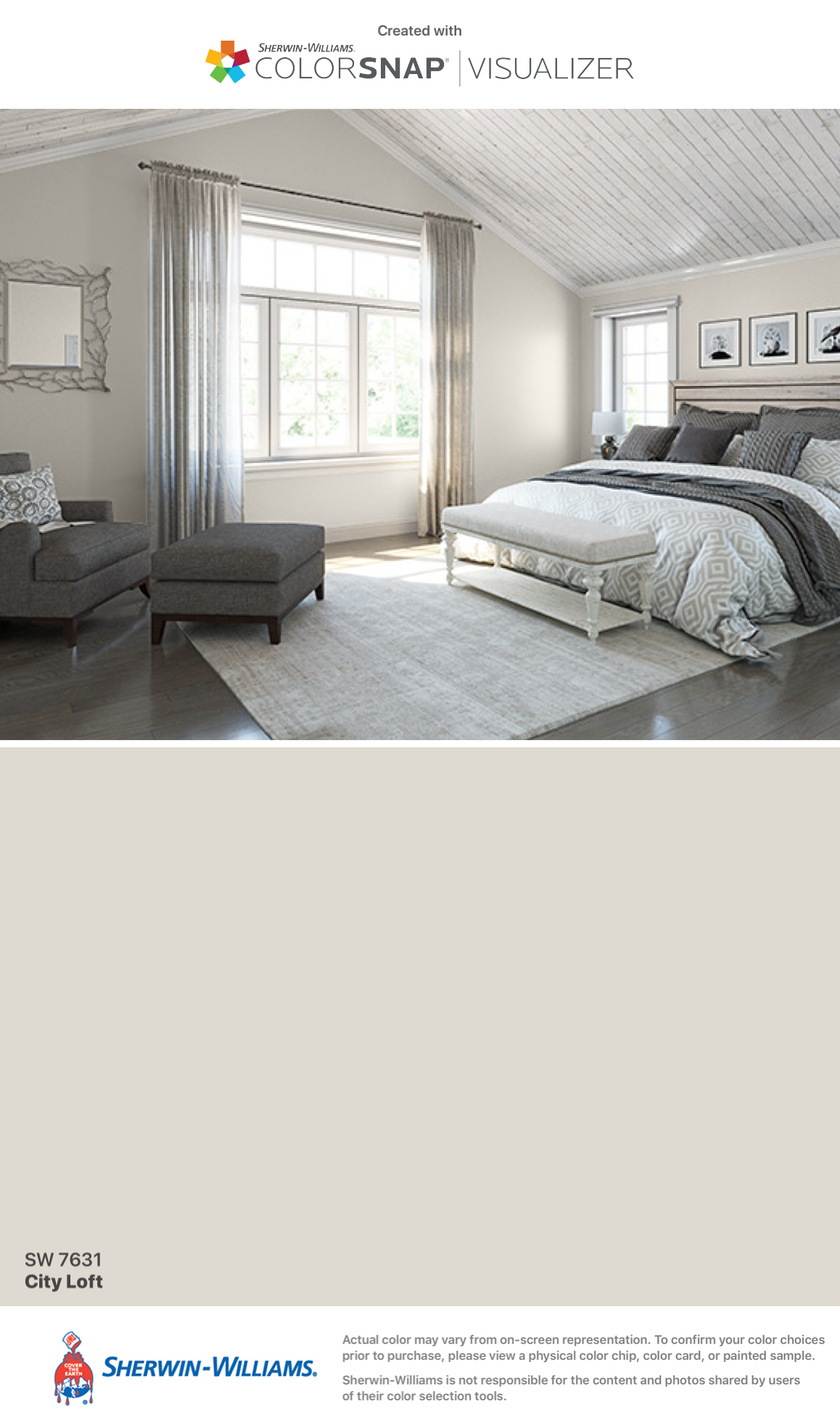 I found this color with ColorSnap Visualizer for iPhone by Sherwin-Williams: City Loft (SW 7631).
