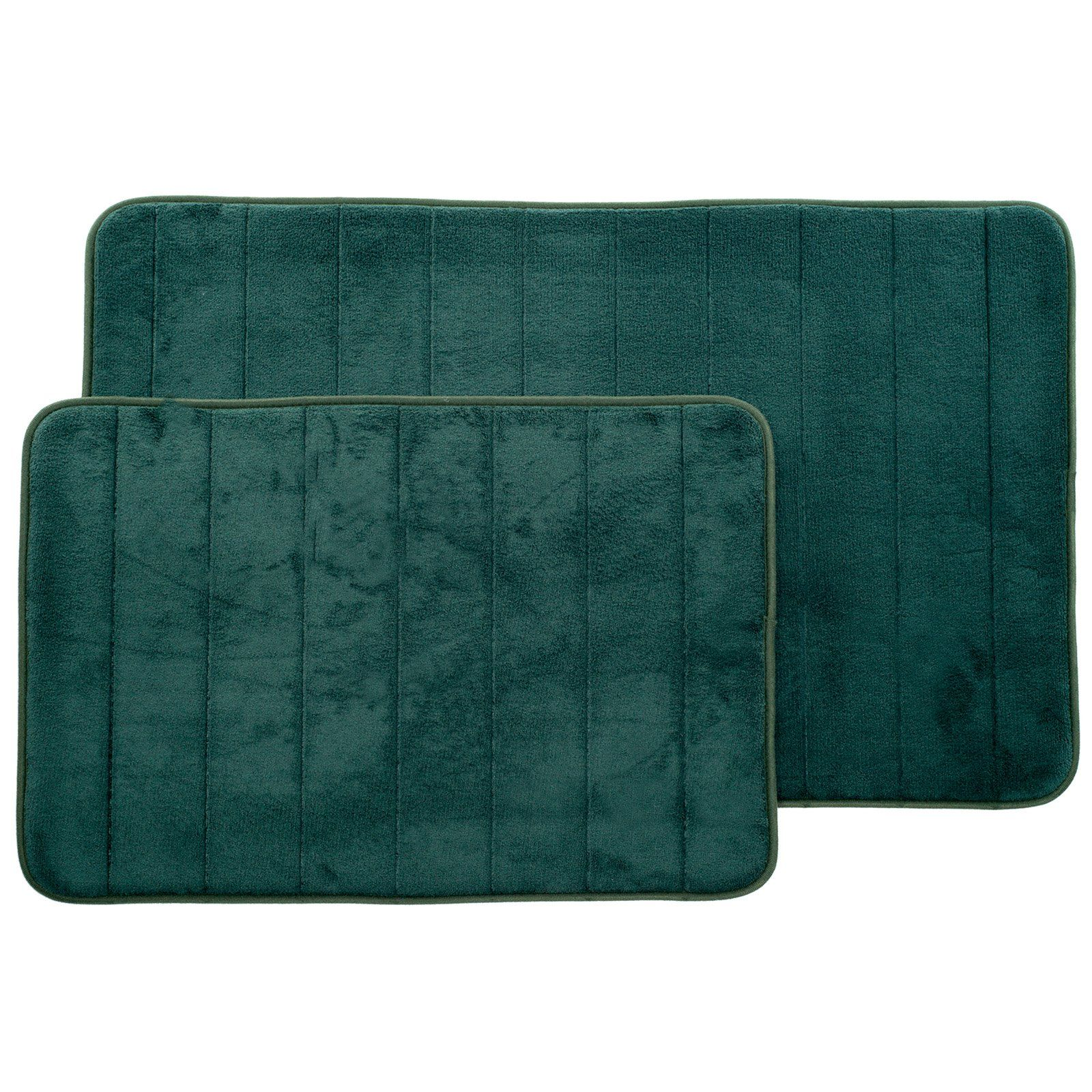 Lavish Home Memory Foam Striped Bath Mat Set Set Of 2 Green