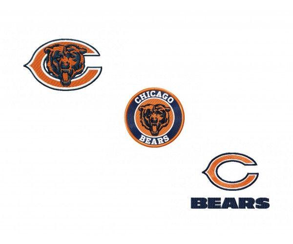 Chicago Bears 3 Logos Machine Embroidery Design For Instant Download Machine Embroidery Designs Embroidery Designs Machine Embroidery