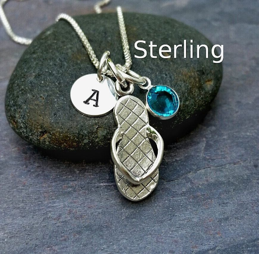 Sterling Silver Flipflop Flip Flop Charm Pendant Necklace - Personalized Letter Name Initial Stamp - Birthstone or Swarovski Crystal Pearl by CharmNecklaces on Etsy