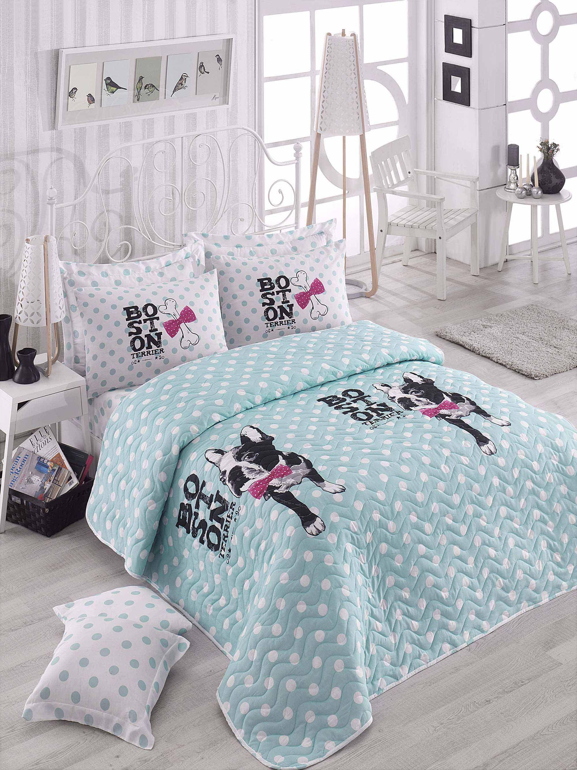 Boston terrier Menta kétszemélyes steppelt ágytakaró szett LILY HOME ... d4873919aa