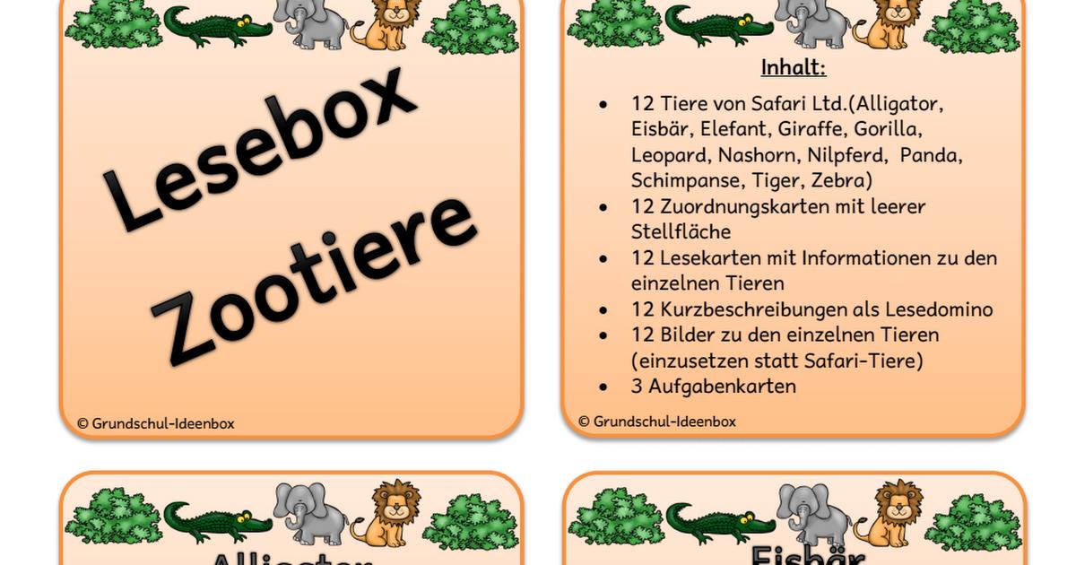 Lesebox Zootiere neues Design.pdf   Deutsch gs   Pinterest   Schule ...