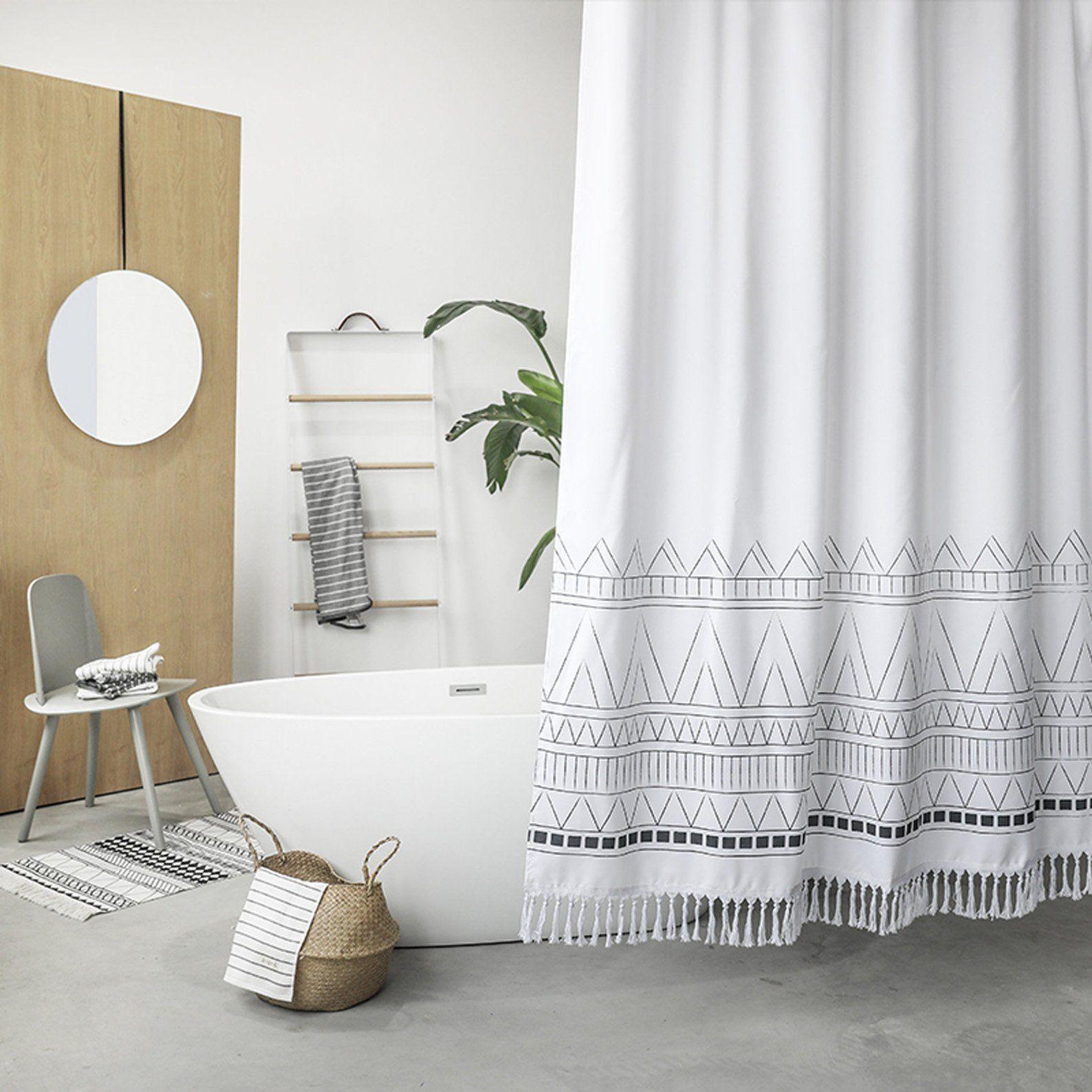 Black White Bohemian Shower Curtain With Tassel Boho Shower