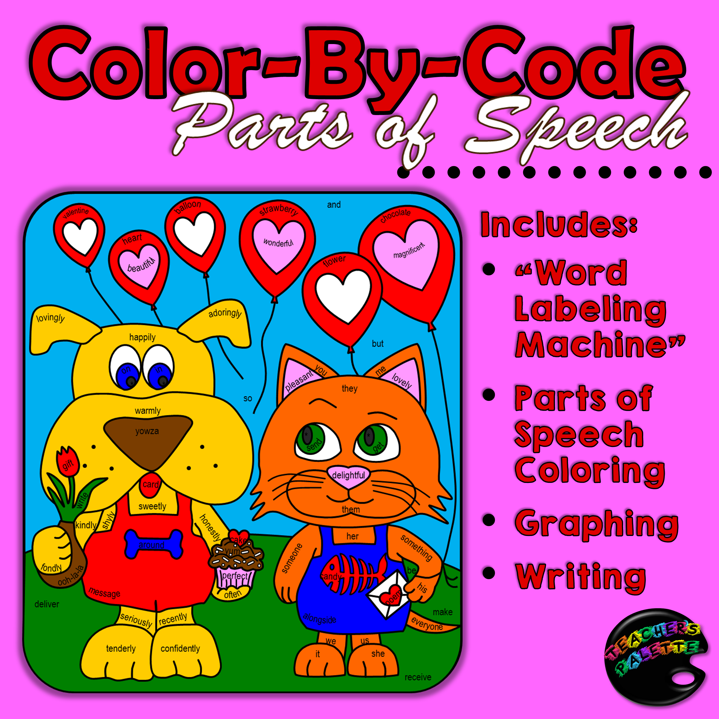 Parts Of Speech Sentence Structure Coloring Graphing Writing February Ed