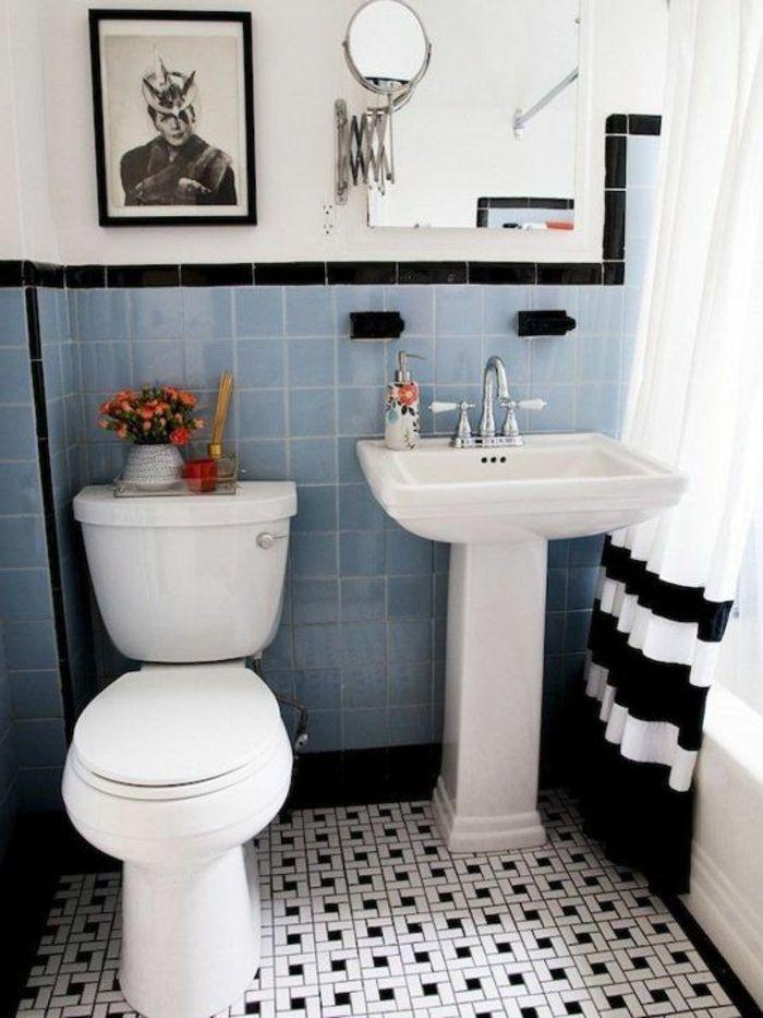 Le thème du jour est la salle de bain rétro! Beautiful space and