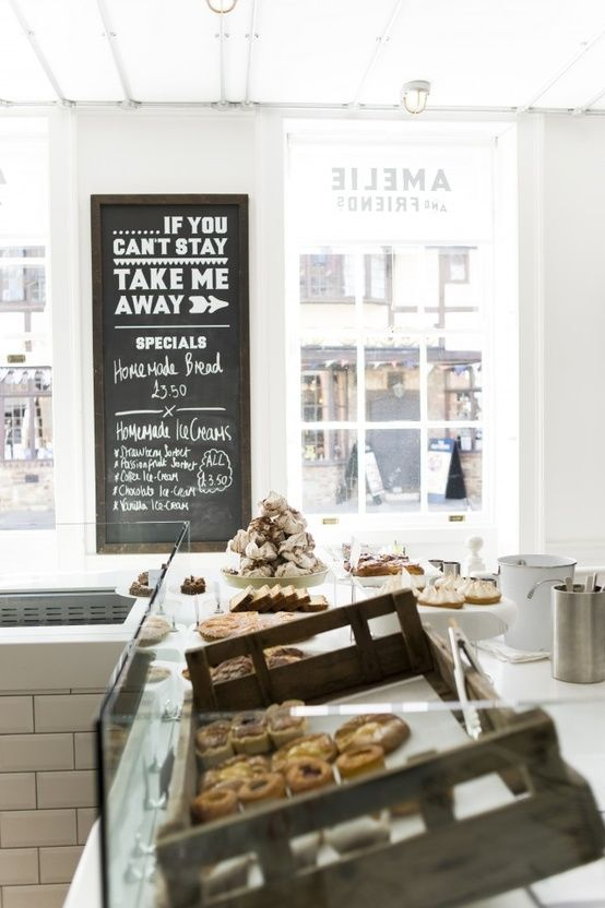 "love the look of this bake shop... so cute: ""If you can't stay... take me away"" :)"
