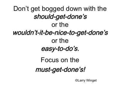 Larry Winget Quote - focus on the must-get-done's