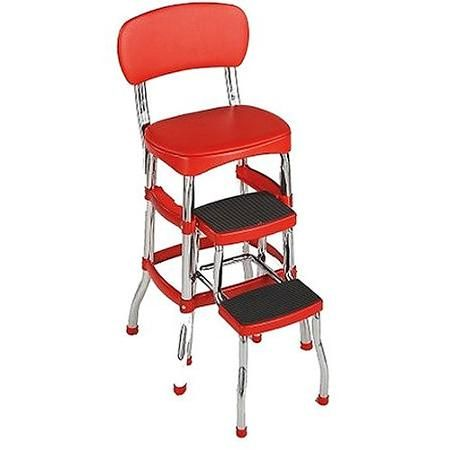 Cosco Red Retro Counter Chair  Step Stool  Walmart  Things Brilliant Walmart Kitchen Stools 2018