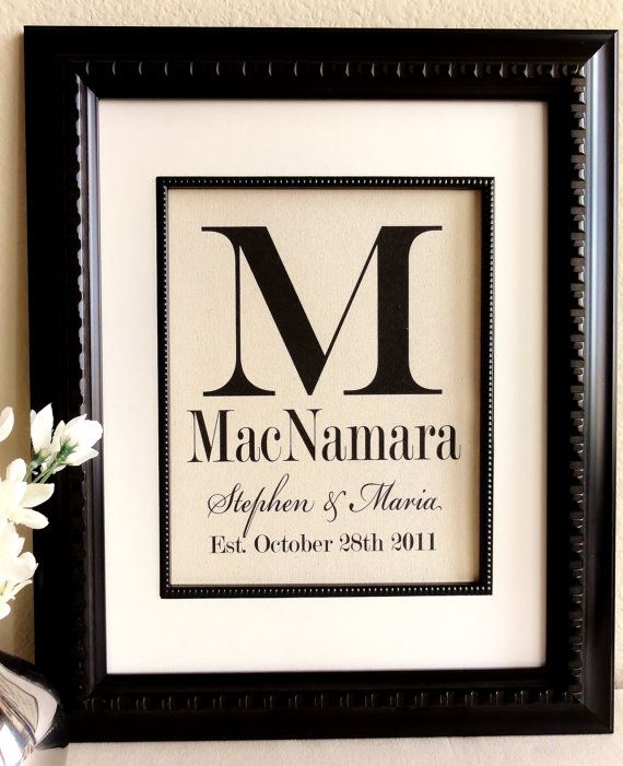 perfect anniversary or wedding gift  last name and est  date on cotton  by 505vintage
