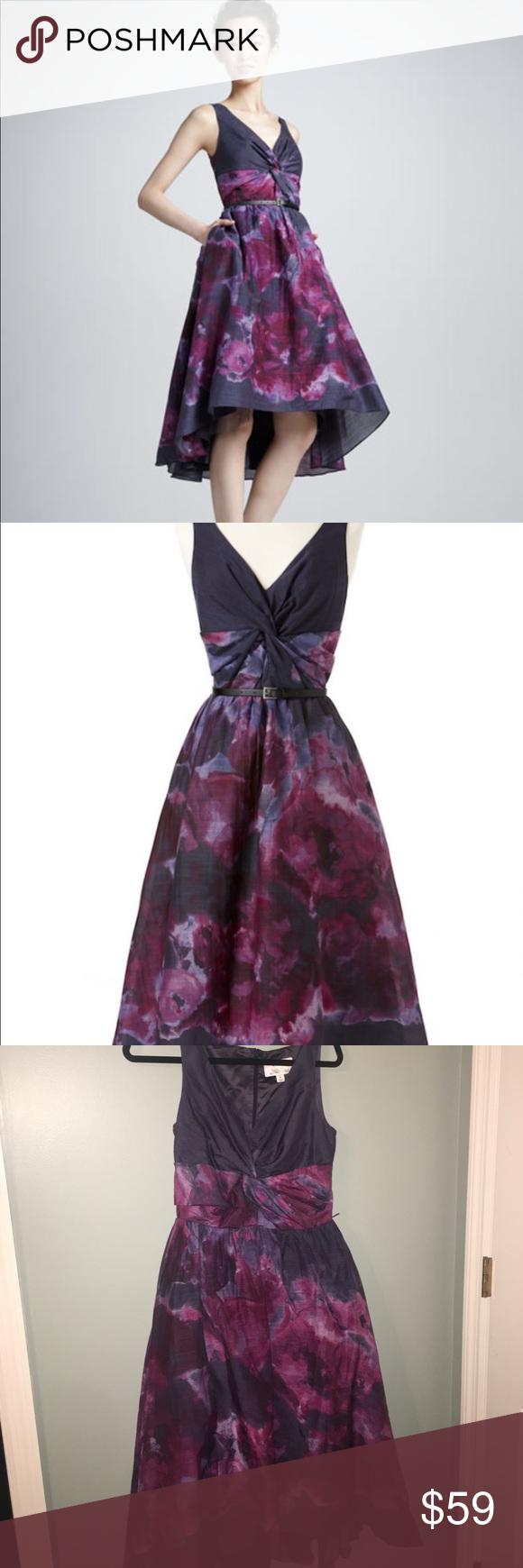 New Neiman Marcus Target Lela Rose Watercolor High Low Dress Silk Blend Womens 8