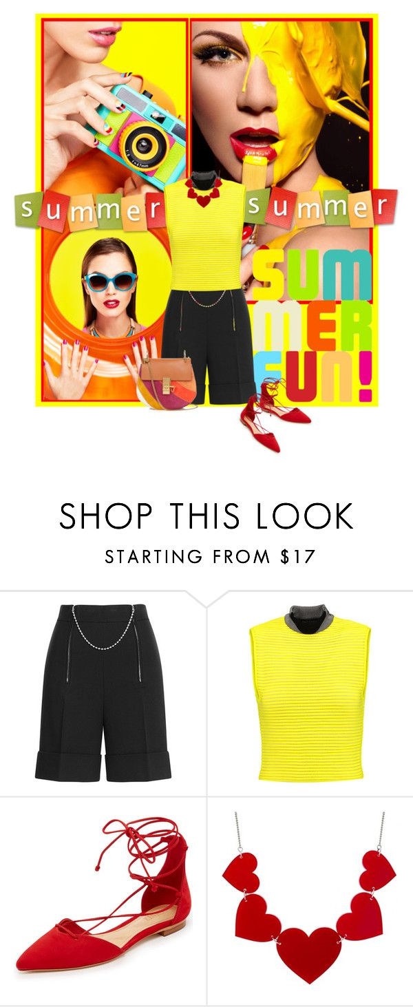 """Here comes the fun"" by noconfessions ❤ liked on Polyvore featuring Alexander Wang, Schutz, Chloé, shorts, RedShoes and neoprene"