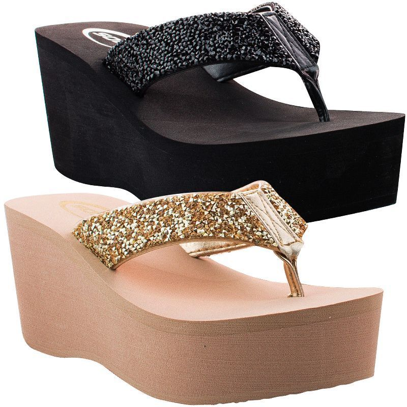 6407d8b50a81e Womens Sandals Wedge Shoes Platform Heels Thong Flip Flops Black Gold Soda  Oxen  Soda  FlipFlops