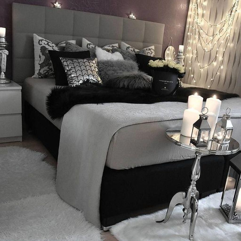 Nice 47 Modern White And Black Bedroom Decoration Ideas For Romantic Couples More At Homeinteriordecorm Black And Grey Bedroom Grey Bedroom Decor Bedroom Red