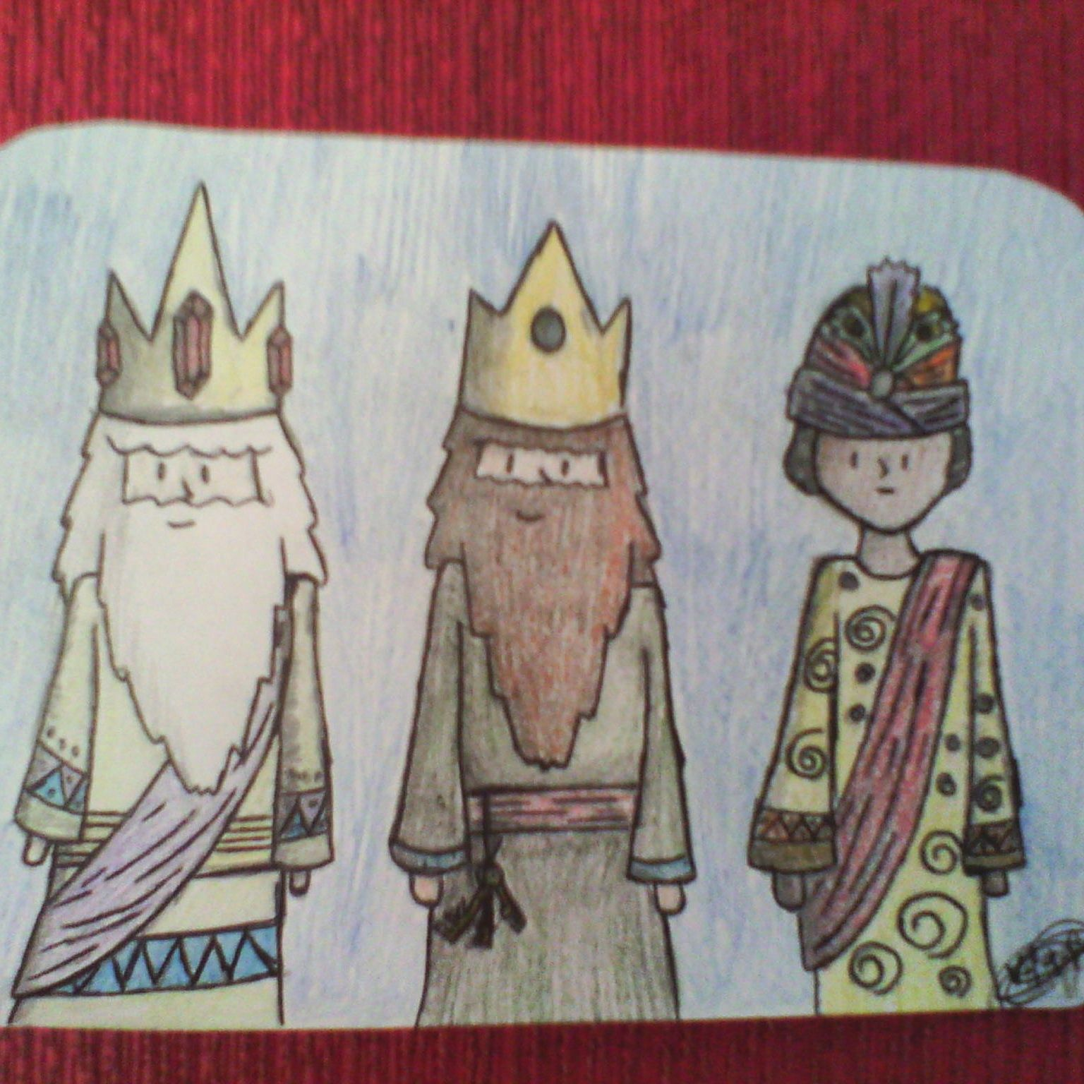 Los Reyes Magos ya han pasado, pero bueno. Dibujo realizado a lapiz