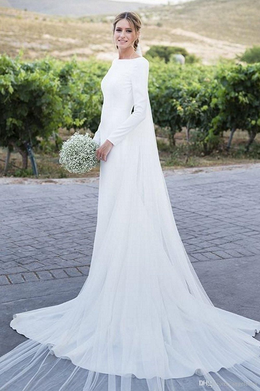 2018 Plain Long Sleeve Wedding Dresses Bateau Backless