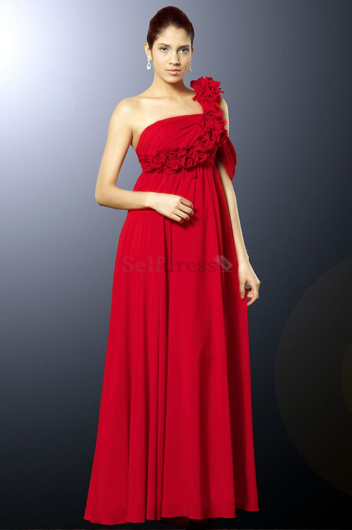 Flowers Red Inverted Triangle Chiffon Long Elegant & Luxurious Thin Floor Length Spring Evening Dress