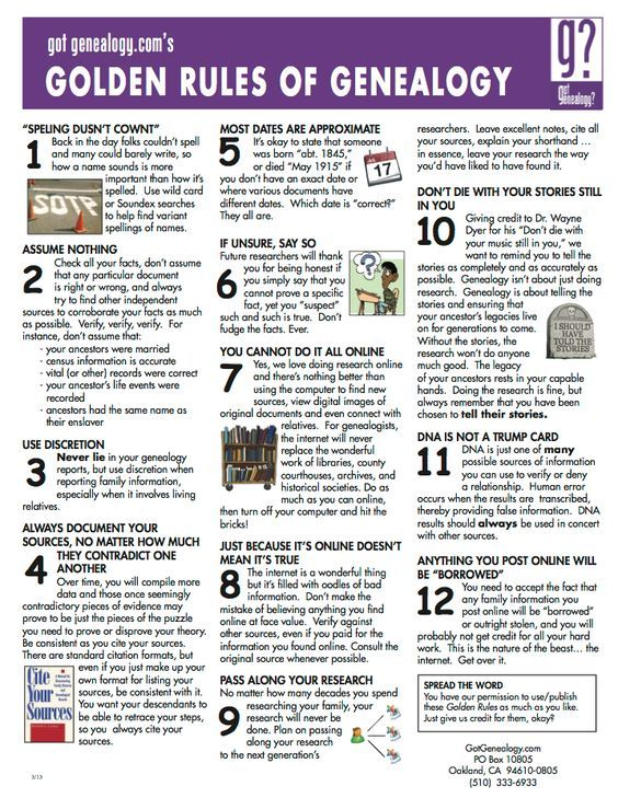 """Golden Rules of Genealogy - I came across this neat graphic on the Got Genealogy? FB page.  A simple summary of some """"Golden Rules of Genealogy."""" on the National Genealogical Society blog. Editor's Note: the graphic contains a statement """"You have our permission to use/publish these Golden Rules as much as you like.  Just give us credit for them, okay?"""" GotGenealogy.com"""