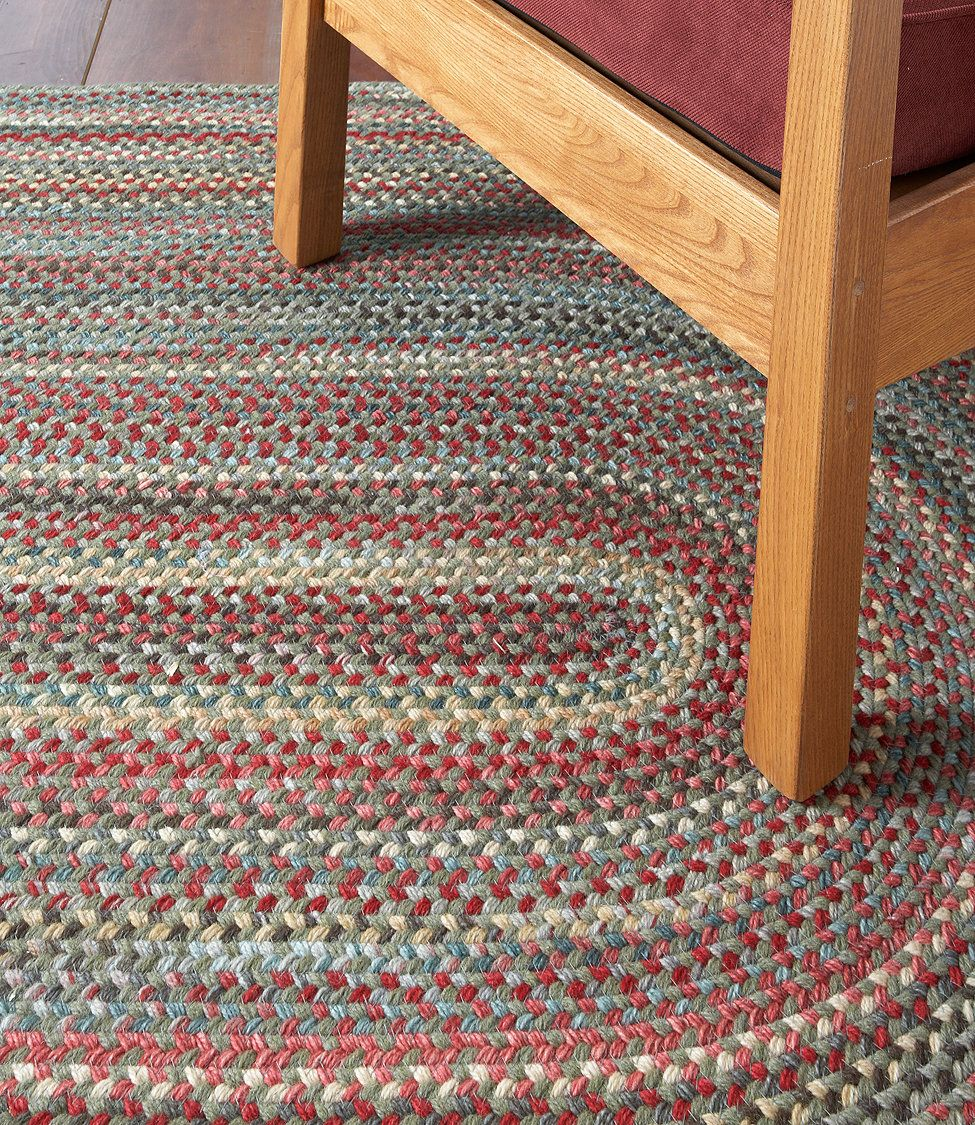 Braided Rug For Living Room: Bean's Braided Wool Rug, Oval... Cottage Red, Rose/moss